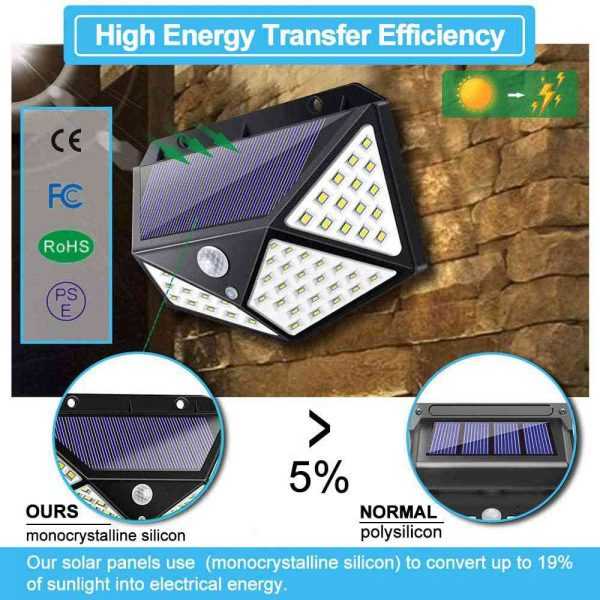 100 Led 2200mah Outdoor Garden Security Lamp Solar Powered Pir Motion Sensor Wall Lights (13)