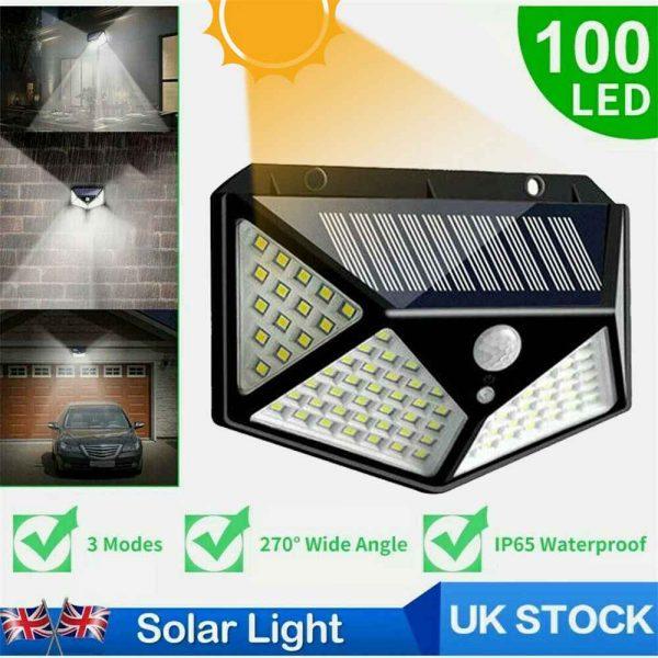 100 Led 2200mah Outdoor Garden Security Lamp Solar Powered Pir Motion Sensor Wall Lights (2)