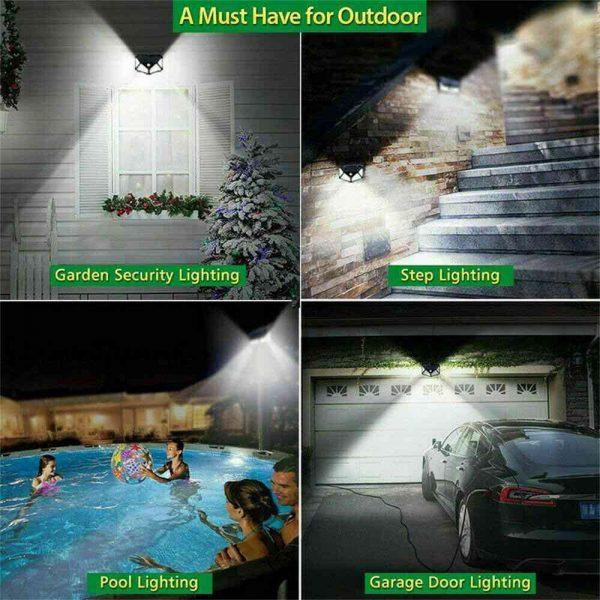 100 Led 2200mah Outdoor Garden Security Lamp Solar Powered Pir Motion Sensor Wall Lights (3)