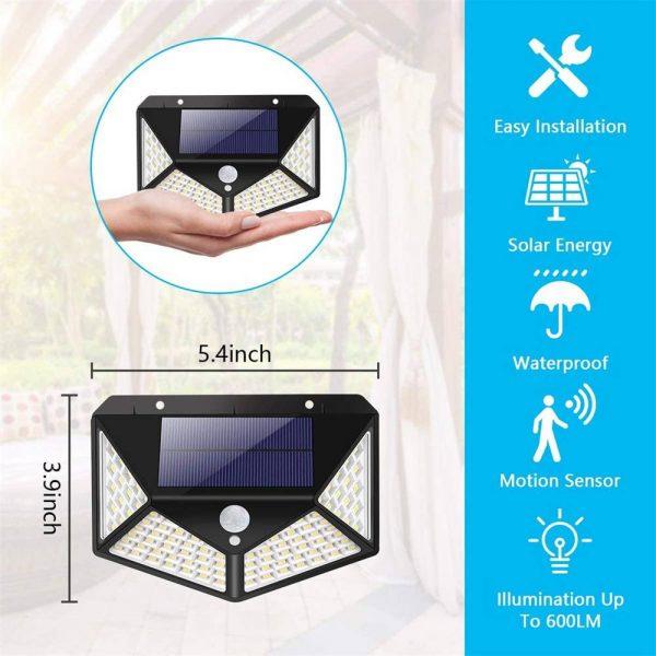 100 Led 2200mah Outdoor Garden Security Lamp Solar Powered Pir Motion Sensor Wall Lights (5)