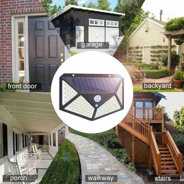 100 Led 2200mah Outdoor Garden Security Lamp Solar Powered Pir Motion Sensor Wall Lights (8)