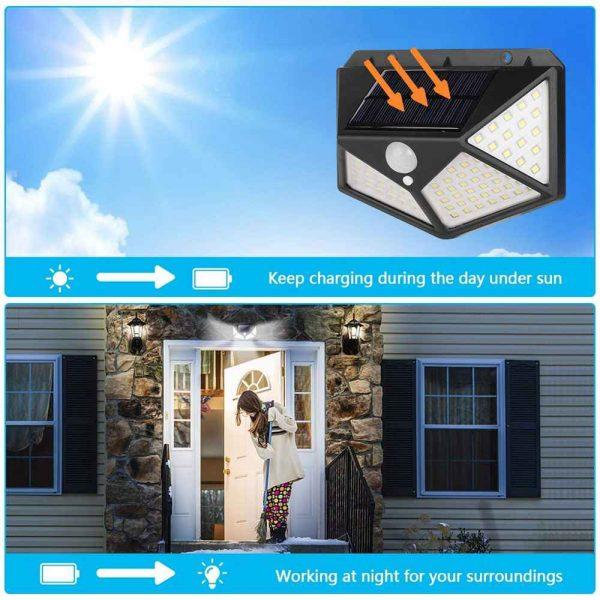 100 Led 2200mah Outdoor Garden Security Lamp Solar Powered Pir Motion Sensor Wall Lights (9)