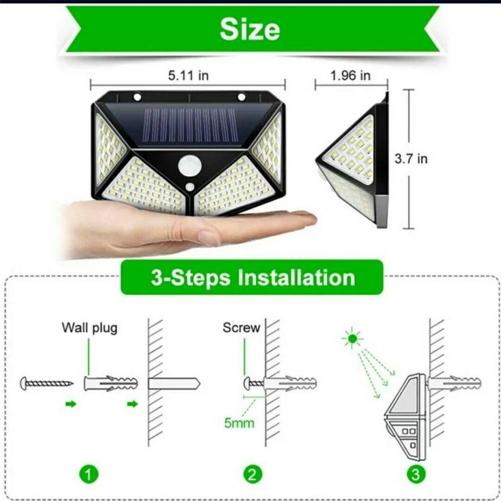 100 Led Solar Powered Pir Motion Sensor Wall Lights Outdoor Garden Security Lamp (10)