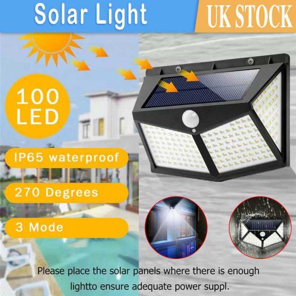 100 Led Solar Powered Pir Motion Sensor Wall Lights Outdoor Garden Security Lamp (12)