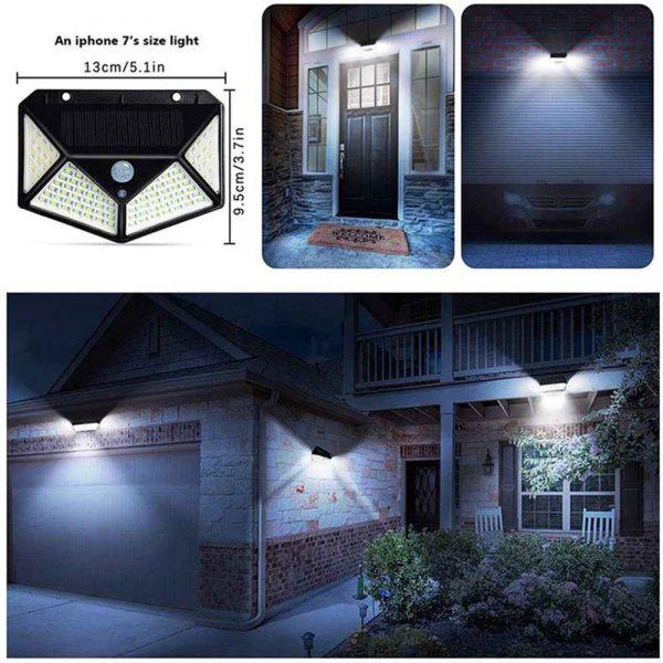 100 Led Solar Powered Pir Motion Sensor Wall Lights Outdoor Garden Security Lamp (17)