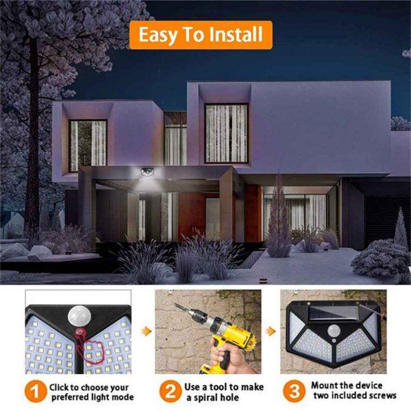 100 Led Solar Powered Pir Motion Sensor Wall Lights Outdoor Garden Security Lamp (19)