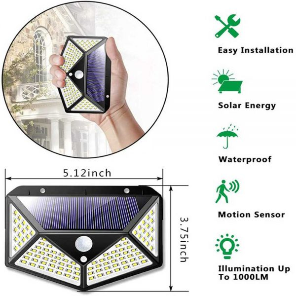 100 Led Solar Powered Pir Motion Sensor Wall Lights Outdoor Garden Security Lamp (20)