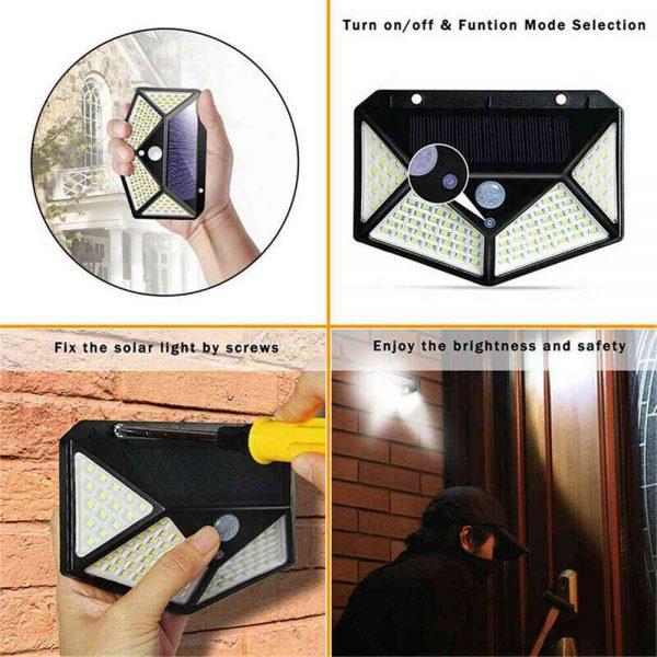 100 Led Solar Powered Pir Motion Sensor Wall Lights Outdoor Garden Security Lamp (7)