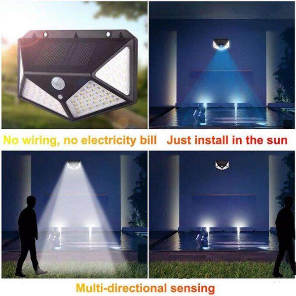 100 Led Solar Powered Pir Motion Sensor Wall Lights Outdoor Garden Security Lamp (8)
