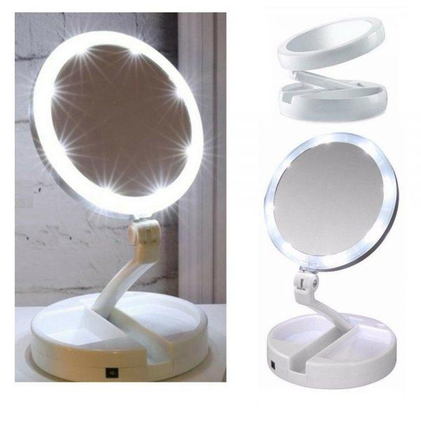 10x Magnification Illuminated Cosmetic Led Folding Double Sided Make Up Mirror (1)