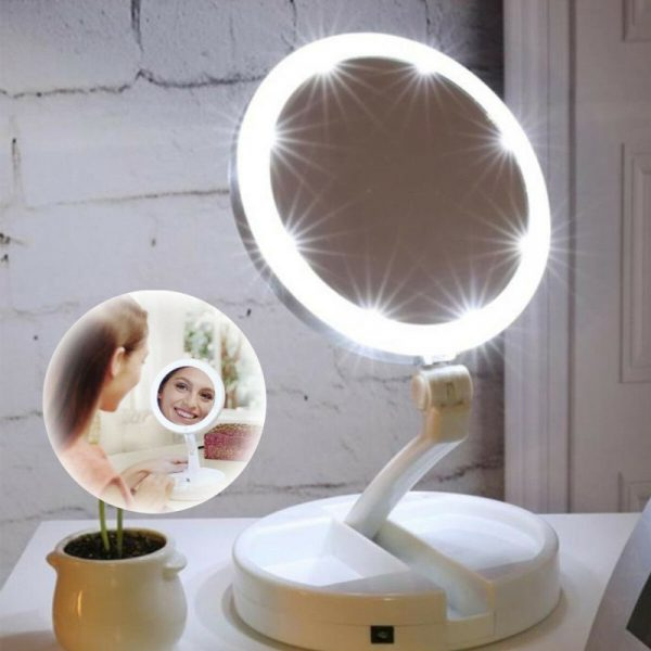10x Magnification Illuminated Cosmetic Led Folding Double Sided Make Up Mirror (16)