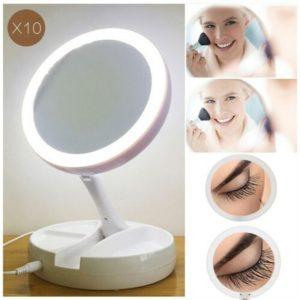 10x Magnification Illuminated Cosmetic Led Folding Double Sided Make Up Mirror (2)