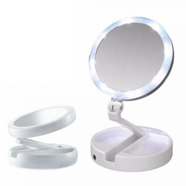 10x Magnification Illuminated Cosmetic Led Folding Double Sided Make Up Mirror (3)