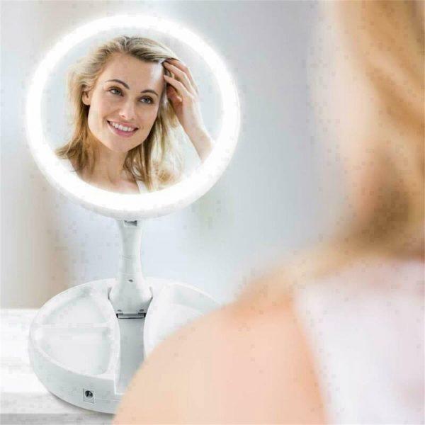10x Magnification Illuminated Cosmetic Led Folding Double Sided Make Up Mirror (4)