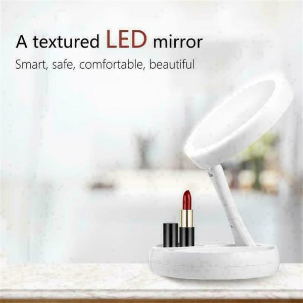 10x Magnification Illuminated Cosmetic Led Folding Double Sided Make Up Mirror (5)