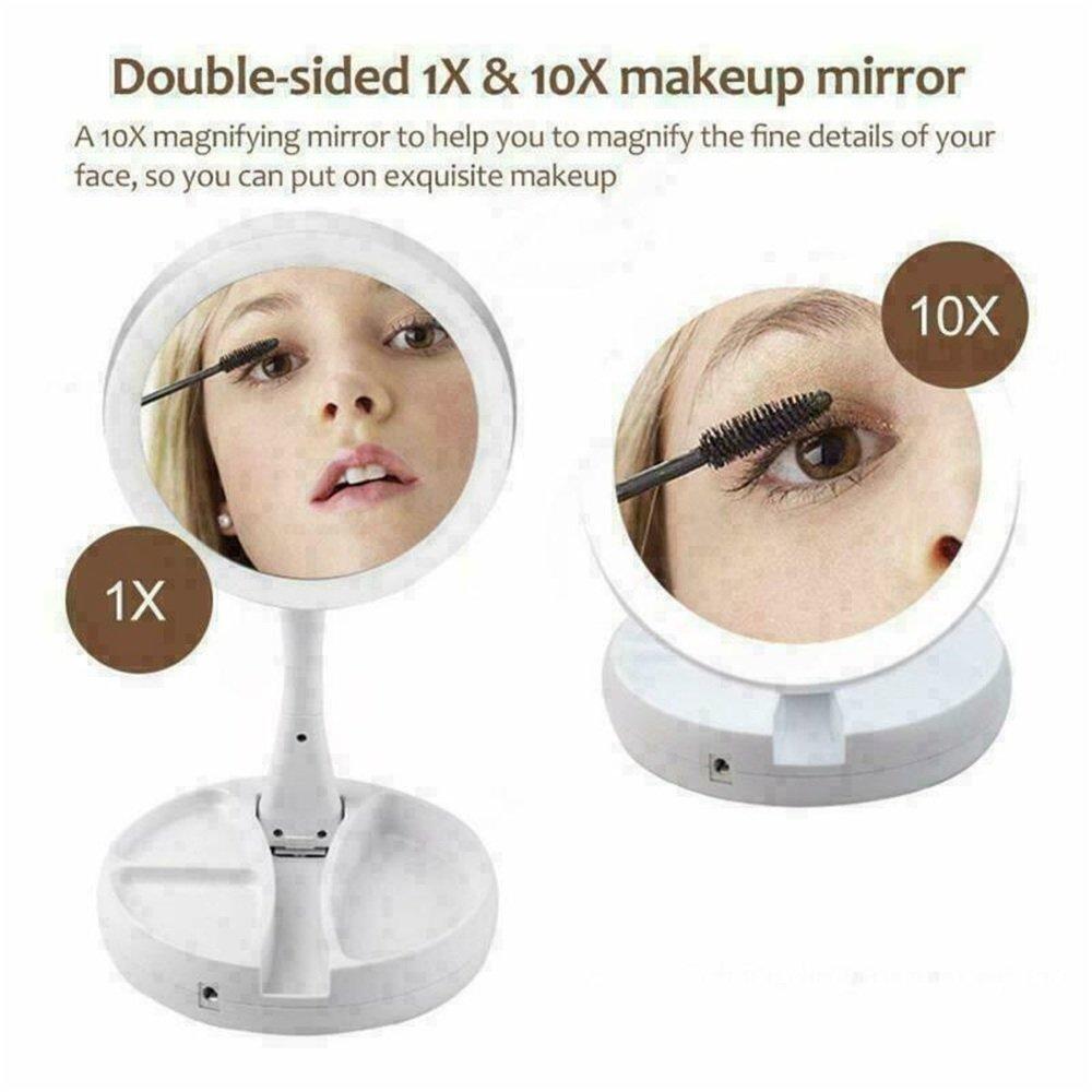 10x Magnification Illuminated Cosmetic Led Folding Double Sided Make Up Mirror (8)