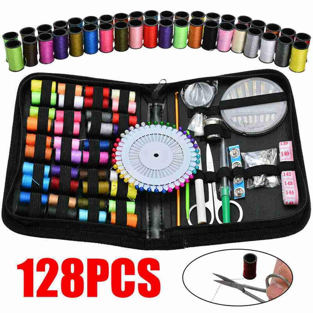 128pcs Diy Multi Function Sewing Box Set Portable Travel Emergency Sewing Kit (12)