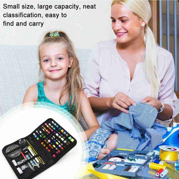 128pcs Diy Multi Function Sewing Box Set Portable Travel Emergency Sewing Kit (4)