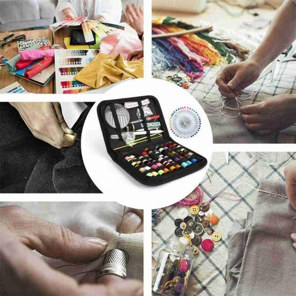 128pcs Diy Multi Function Sewing Box Set Portable Travel Emergency Sewing Kit (5)