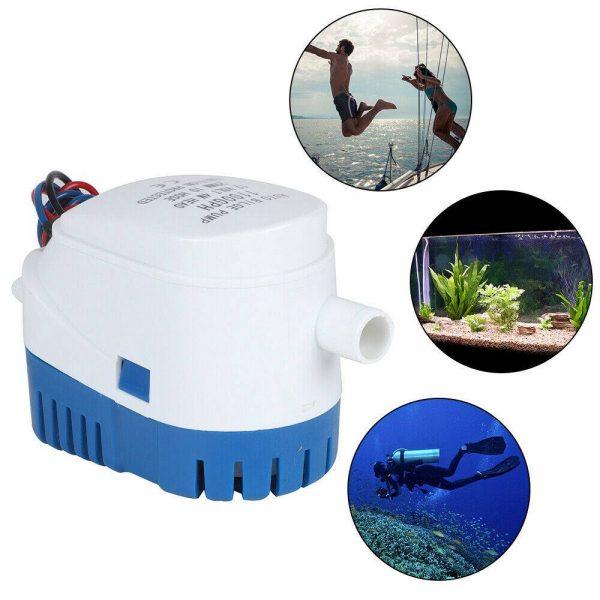 12v 1100gph Marine Automatic Submersible Bilge Pump Auto Float Switch Internal (13)