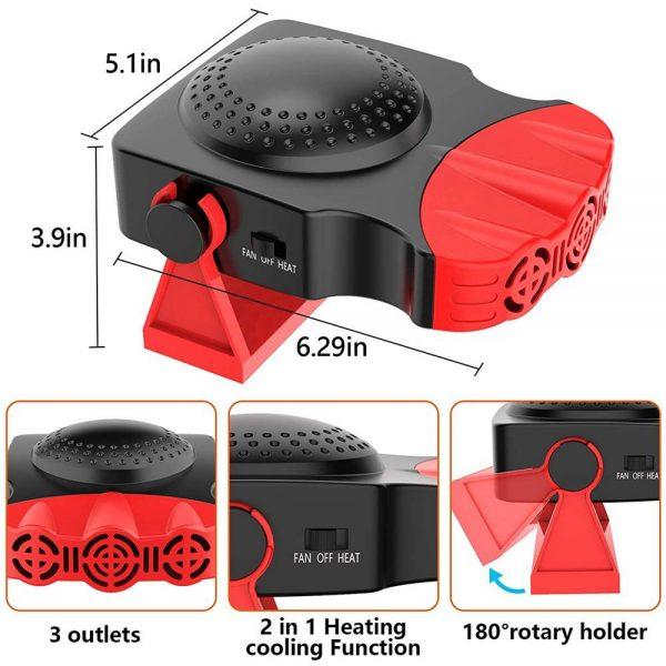 150w 12v Car Heater Fan Defogger Defroster Demister Heating Warmer Windscreen (8)