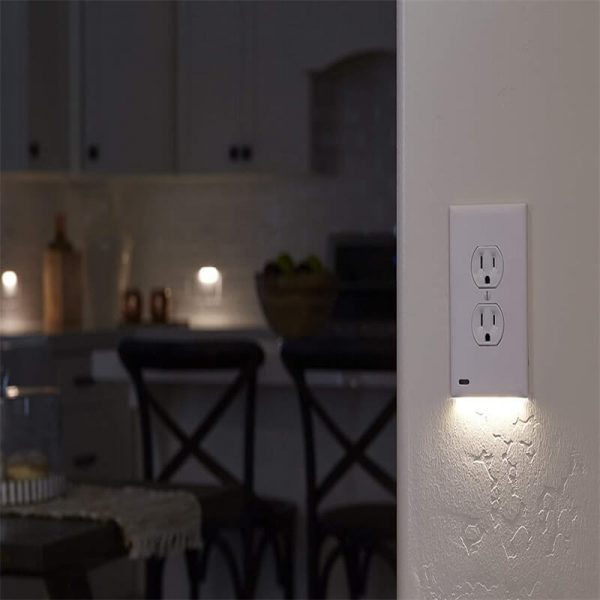 2 Pack Night Light Electrical Outlet Wall Plate With Led Night Lights Automatic Onoff Sensor (6)