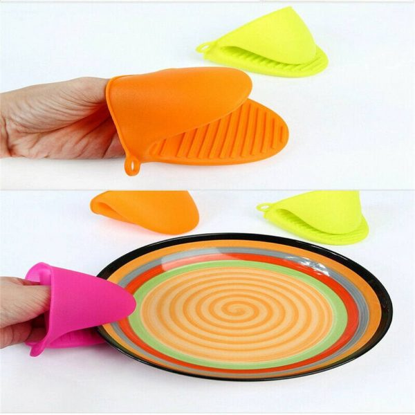 2 Pcs Silicone Extra Thick Mini Oven Mitts Heat Resistant Pot Holder Gloves (11)