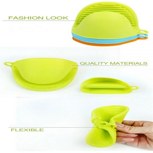 2 Pcs Silicone Extra Thick Mini Oven Mitts Heat Resistant Pot Holder Gloves (13)