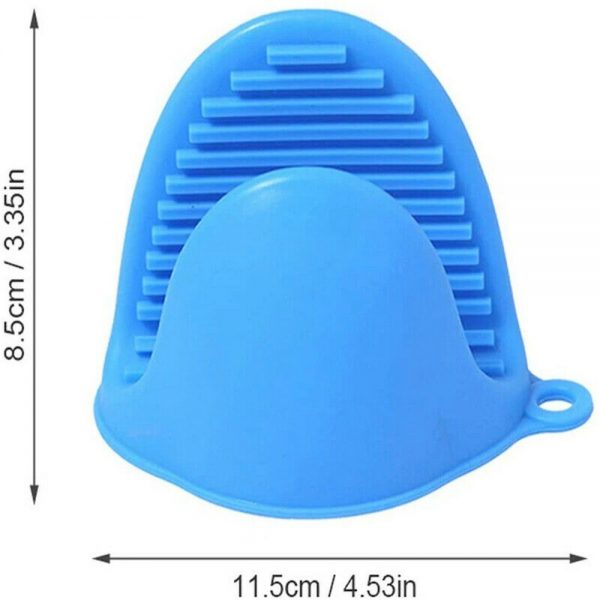 2 Pcs Silicone Extra Thick Mini Oven Mitts Heat Resistant Pot Holder Gloves (17)