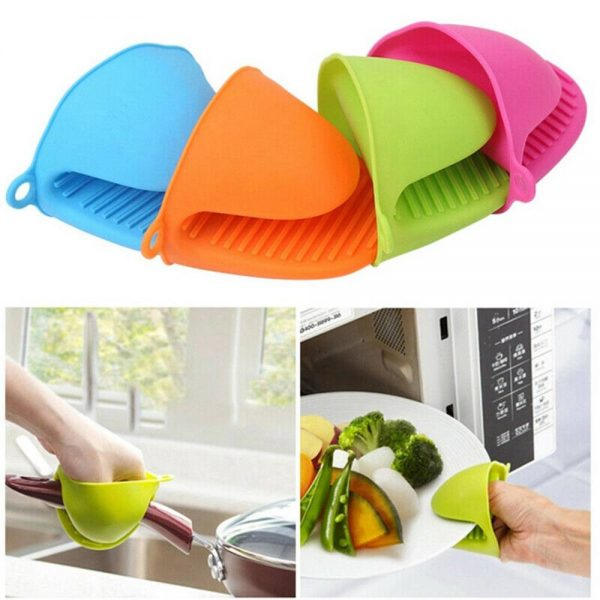 2 Pcs Silicone Extra Thick Mini Oven Mitts Heat Resistant Pot Holder Gloves (2)