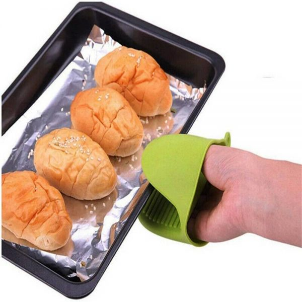 2 Pcs Silicone Extra Thick Mini Oven Mitts Heat Resistant Pot Holder Gloves (4)