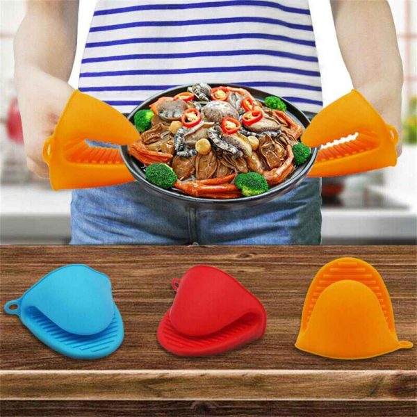 2 Pcs Silicone Extra Thick Mini Oven Mitts Heat Resistant Pot Holder Gloves (9)