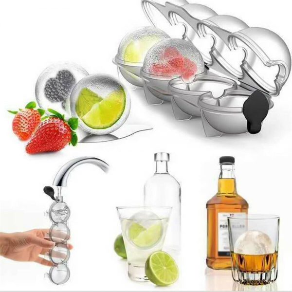 2.2 Bar Silicone Ice Cube 4ball Maker Mold Sphere Large Tray Whiskey Diy Mould (18)