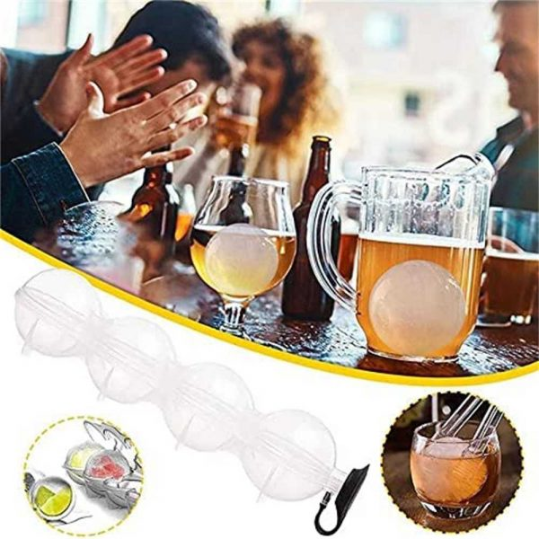 2.2 Bar Silicone Ice Cube 4ball Maker Mold Sphere Large Tray Whiskey Diy Mould (3)