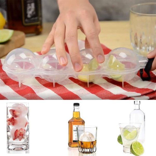2.2 Bar Silicone Ice Cube 4ball Maker Mold Sphere Large Tray Whiskey Diy Mould (4)