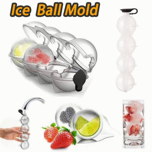 2.2 Bar Silicone Ice Cube 4ball Maker Mold Sphere Large Tray Whiskey Diy Mould (5)