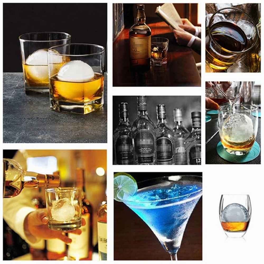 2.2 Bar Silicone Ice Cube 4ball Maker Mold Sphere Large Tray Whiskey Diy Mould (8)
