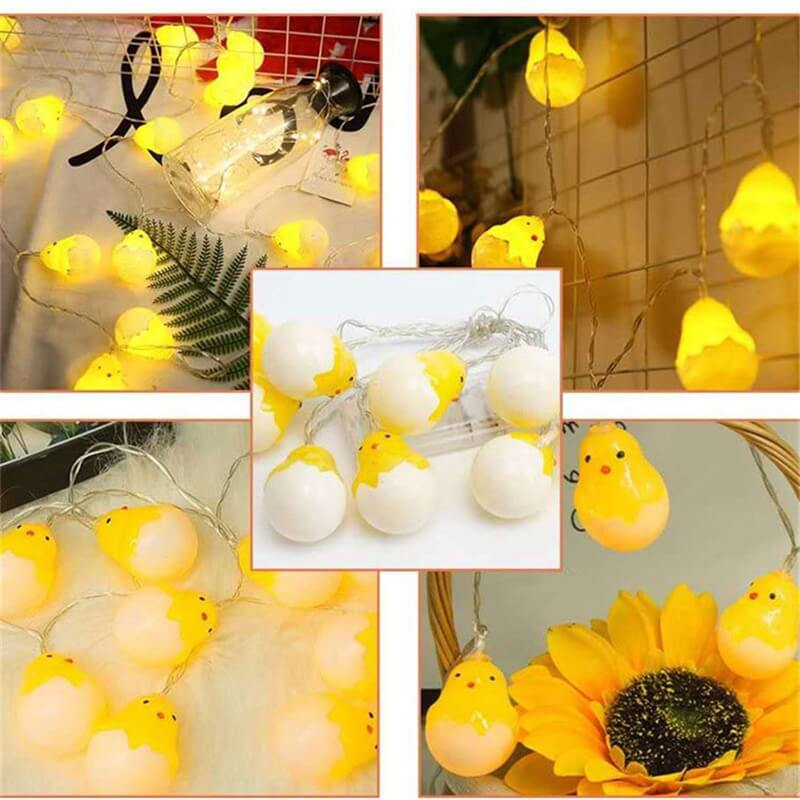 20leds Easter Eggshell Chick Light String Battery Box 3 Meters Colorful Light Led Lamp Night Light (8)