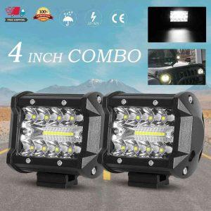 2x 4 Inch 200w Led Work Light Bar Pods Flush Mount Combo Driving 12v Lamps (1)