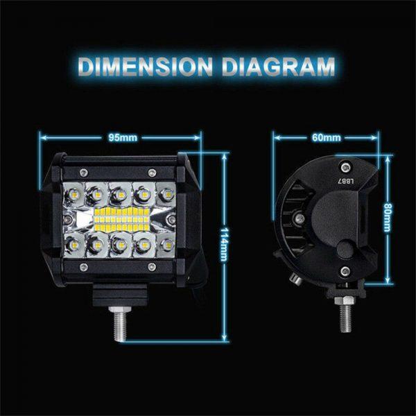 2x 4 Inch 200w Led Work Light Bar Pods Flush Mount Combo Driving 12v Lamps (12)
