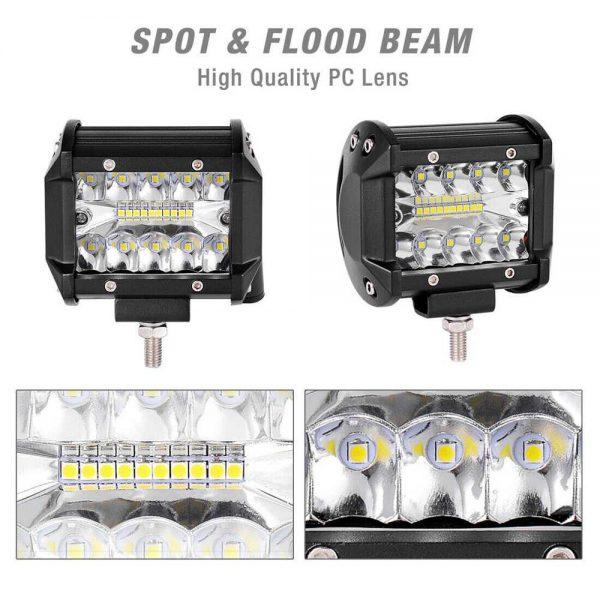 2x 4 Inch 200w Led Work Light Bar Pods Flush Mount Combo Driving 12v Lamps (14)