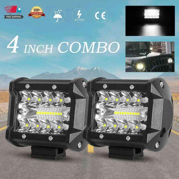 2x 4 Inch 200w Led Work Light Bar Pods Flush Mount Combo Driving 12v Lamps (2)