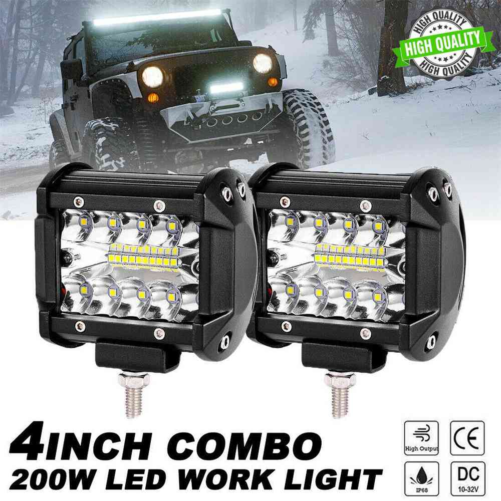 2x 4 Inch 200w Led Work Light Bar Pods Flush Mount Combo Driving 12v Lamps (3)