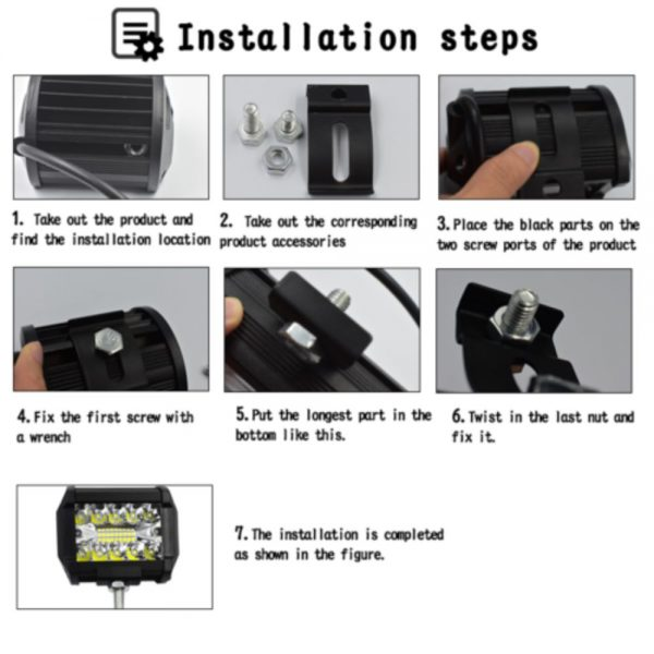2x 4 Inch 200w Led Work Light Bar Pods Flush Mount Combo Driving 12v Lamps (4)