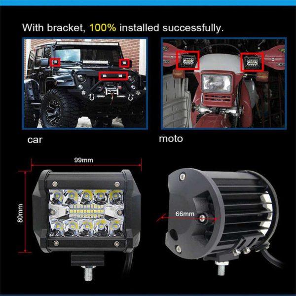 2x 4 Inch 200w Led Work Light Bar Pods Flush Mount Combo Driving 12v Lamps (8)