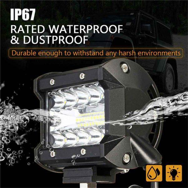 2x 4 Inch 200w Led Work Light Bar Pods Flush Mount Combo Driving 12v Lamps (9)