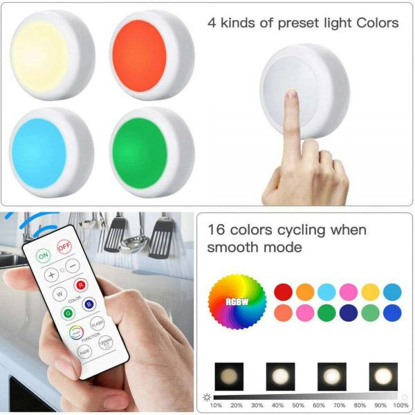 3 Pack Rgb Wireless Led Puck Closet Night Lights 16 Colors Remote Control Under Cabinet (10)