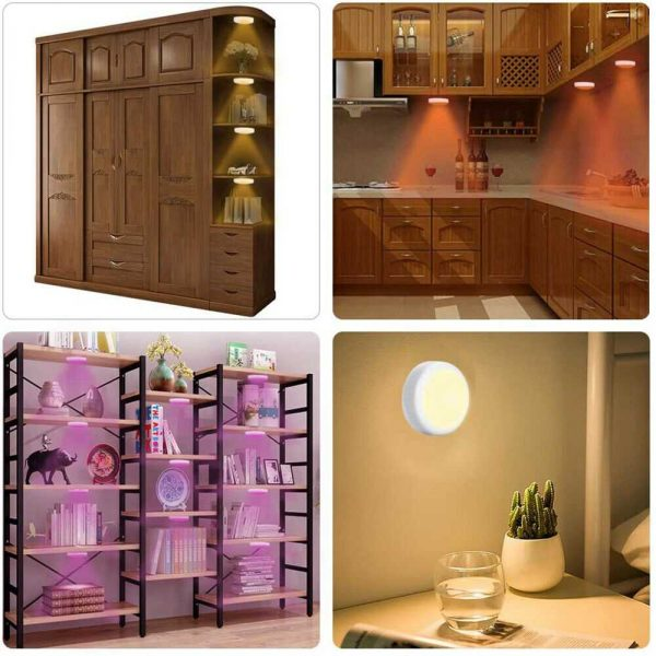 3 Pack Rgb Wireless Led Puck Closet Night Lights 16 Colors Remote Control Under Cabinet (12)