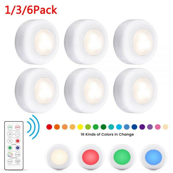 3 Pack Rgb Wireless Led Puck Closet Night Lights 16 Colors Remote Control Under Cabinet (2)