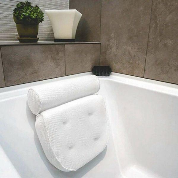 3d Mesh Neck Back Premium Waterproof Luxury Comfortable Bath Spa Pillow Cushion (1)